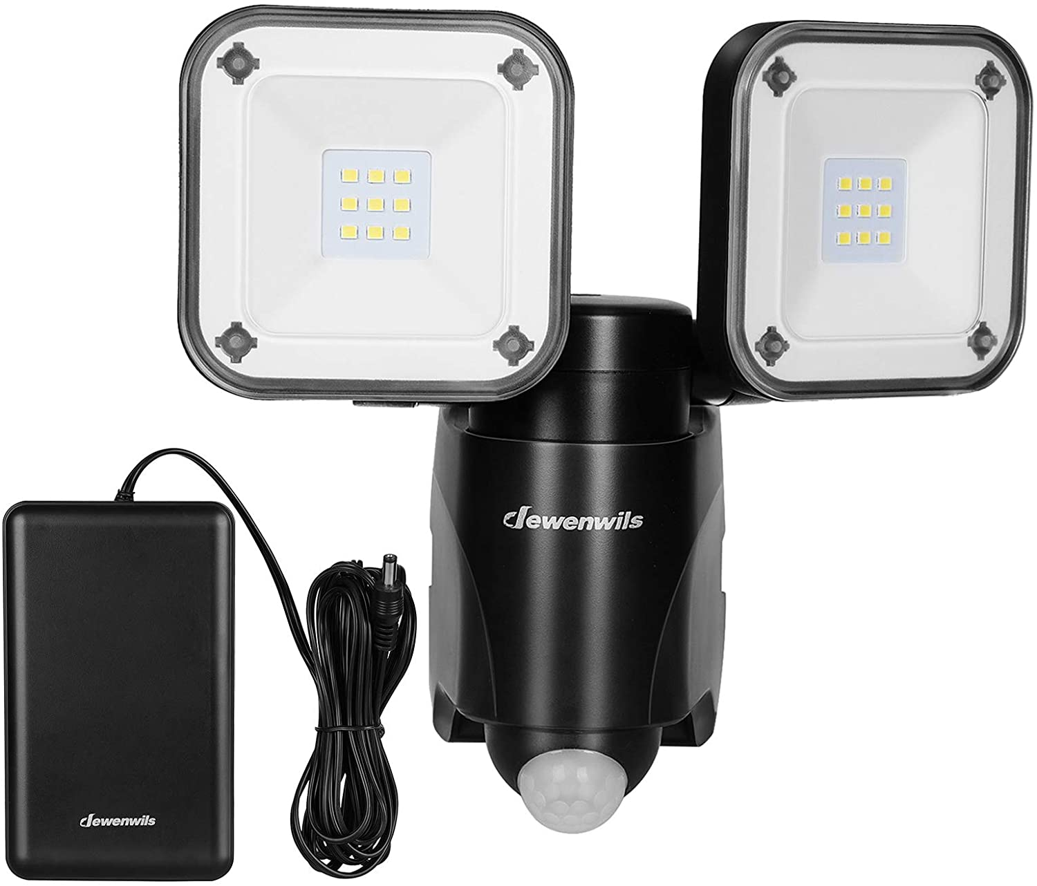 DEWENWILS 800 Lumen Battery Operated LED Motion Security Light, Outdoor Motion Sensor Light with Battery Box, Waterproof, Dual Head Flood Light for Entryways, Yard, Shed, Fence