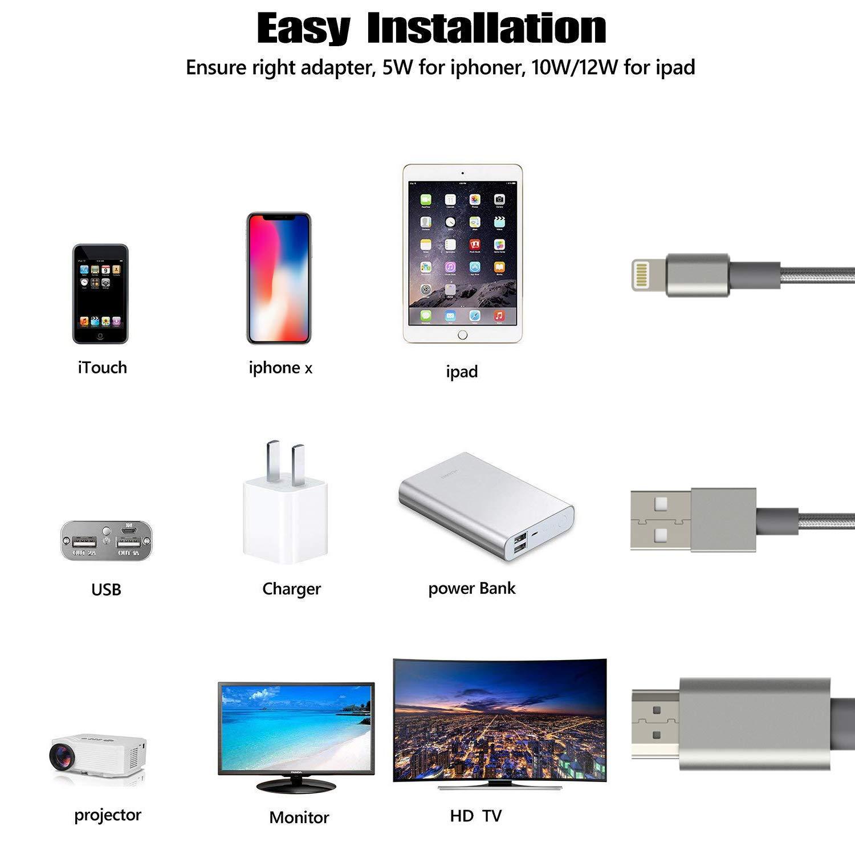 Sync Screen Anschluss HDMI Konverter mit Weiblichem Anschluss f/ür Pad//Phone Anschluss von Projektor//Monitor//HDTV 1080P Aufl/ösung mit Digitalem AV Adapter Netzteil Erforderlich HDMI Kabel Adapter