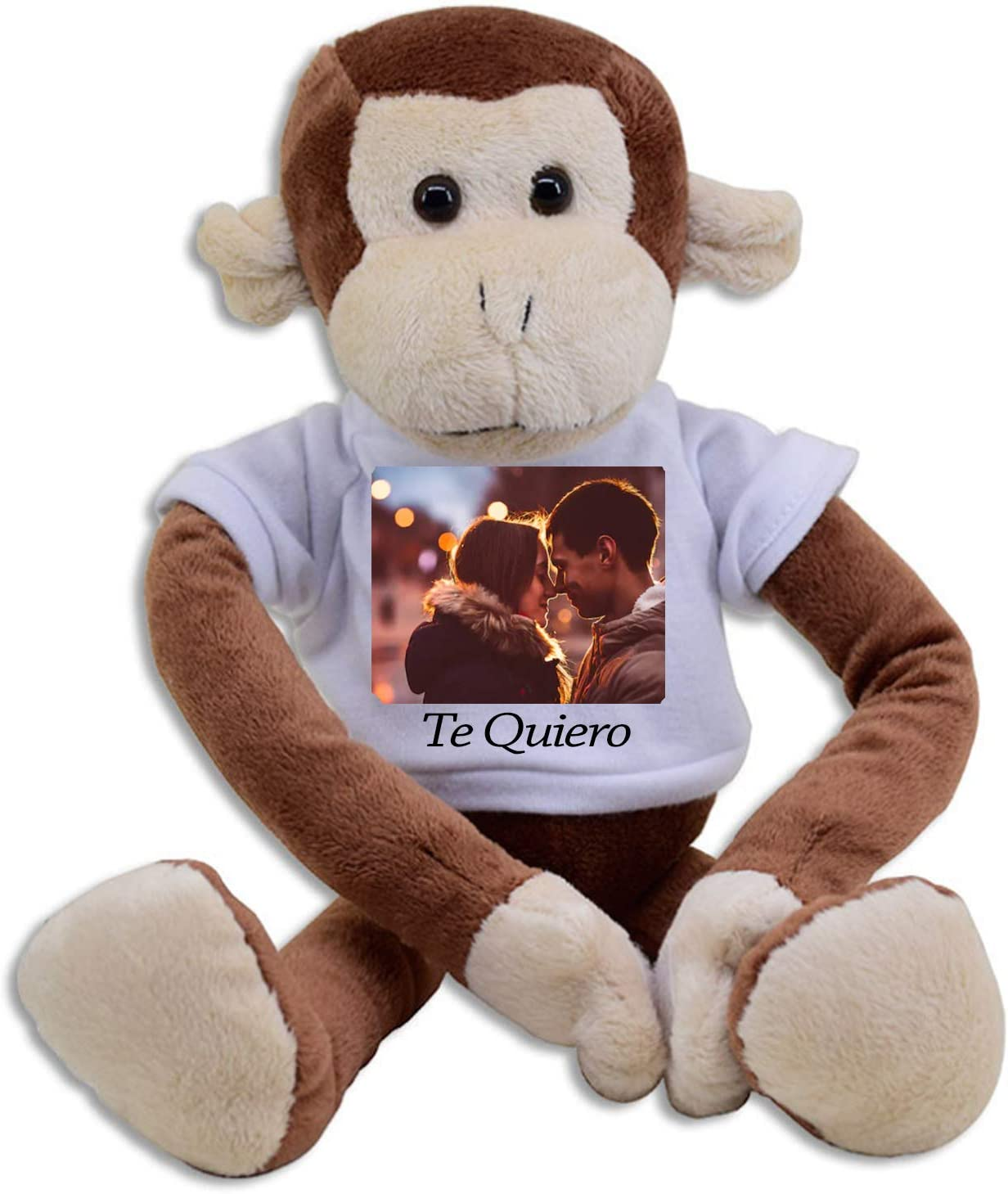 Peluches Personalizados - Peluches Grandes con Foto - CREA Tu Peluche con tu Foto Personalizada - Impresión dpi - Tamaño Grande - Bebe con Nombre - Mono Reno Jirafa- (Mono)