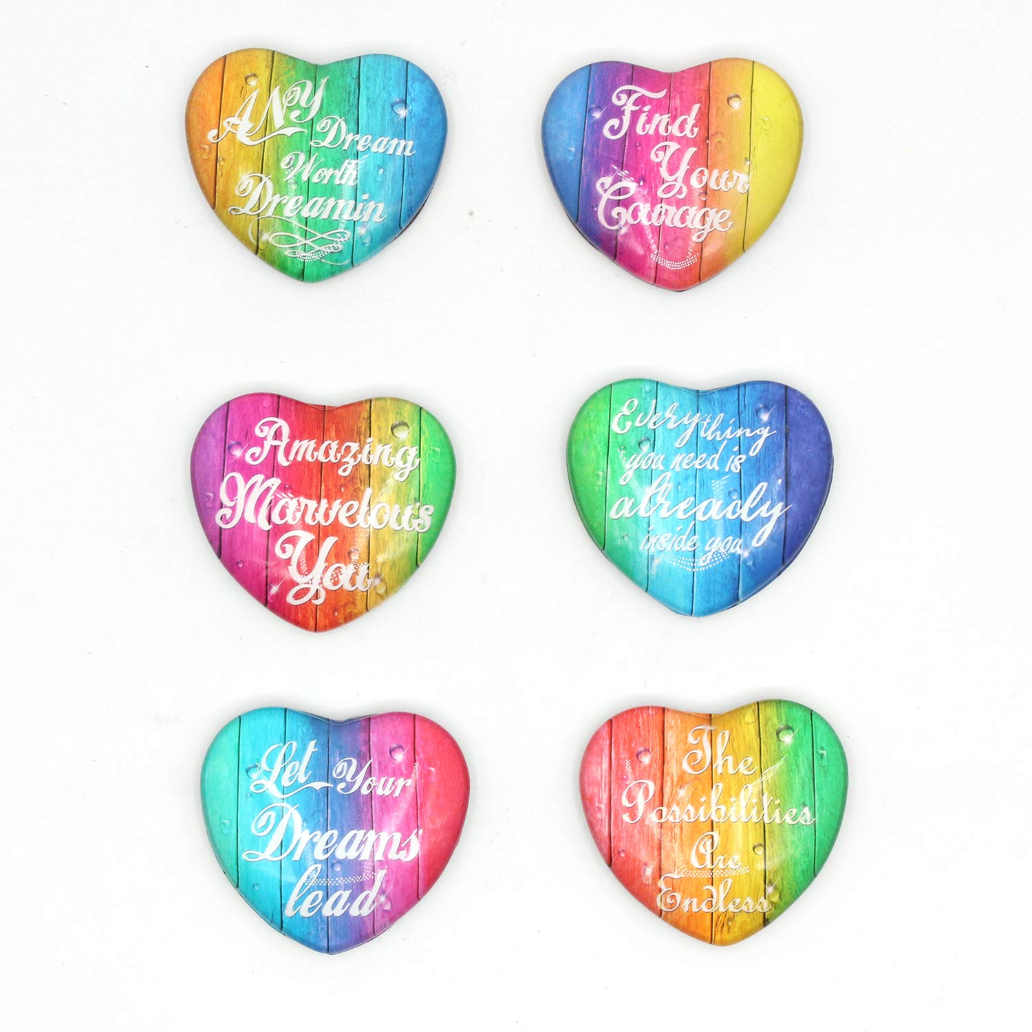 6pcs Colourful Inspirational Heart Shape Refrigerator Magnets,Office Magnets Whiteboard, Magnet Gifts for girls daughter Teens Classroom Locker,Whiteboard,or or children collecting/trading item