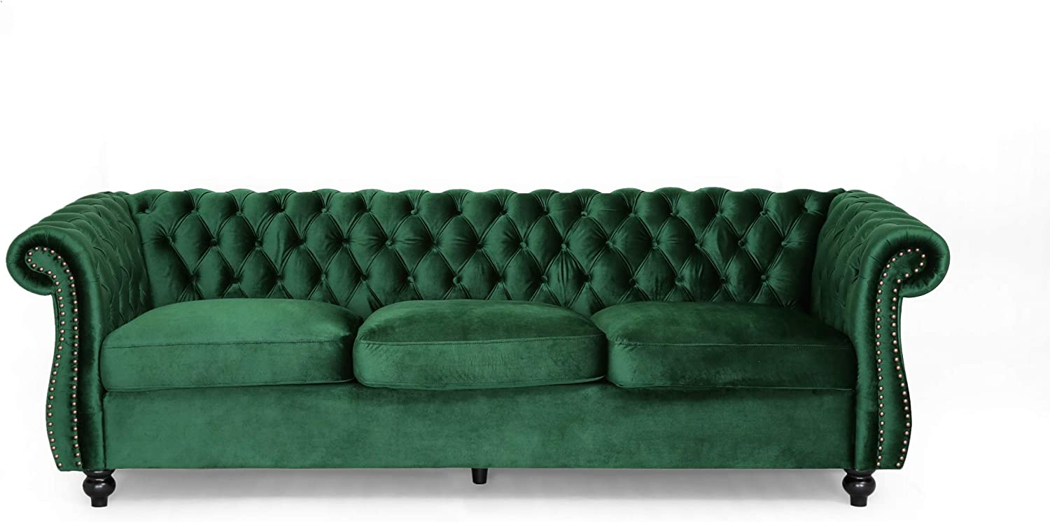 Amazon Com Vita Chesterfield Tufted Jewel Toned Velvet Sofa With Scroll Arms Emerald Kitchen Dining