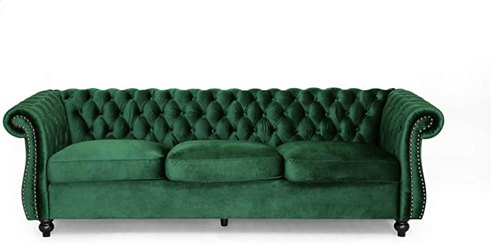 Vita Chesterfield Tufted Jewel Toned Velvet Sofa With Scroll Arms Emerald Kitchen Dining