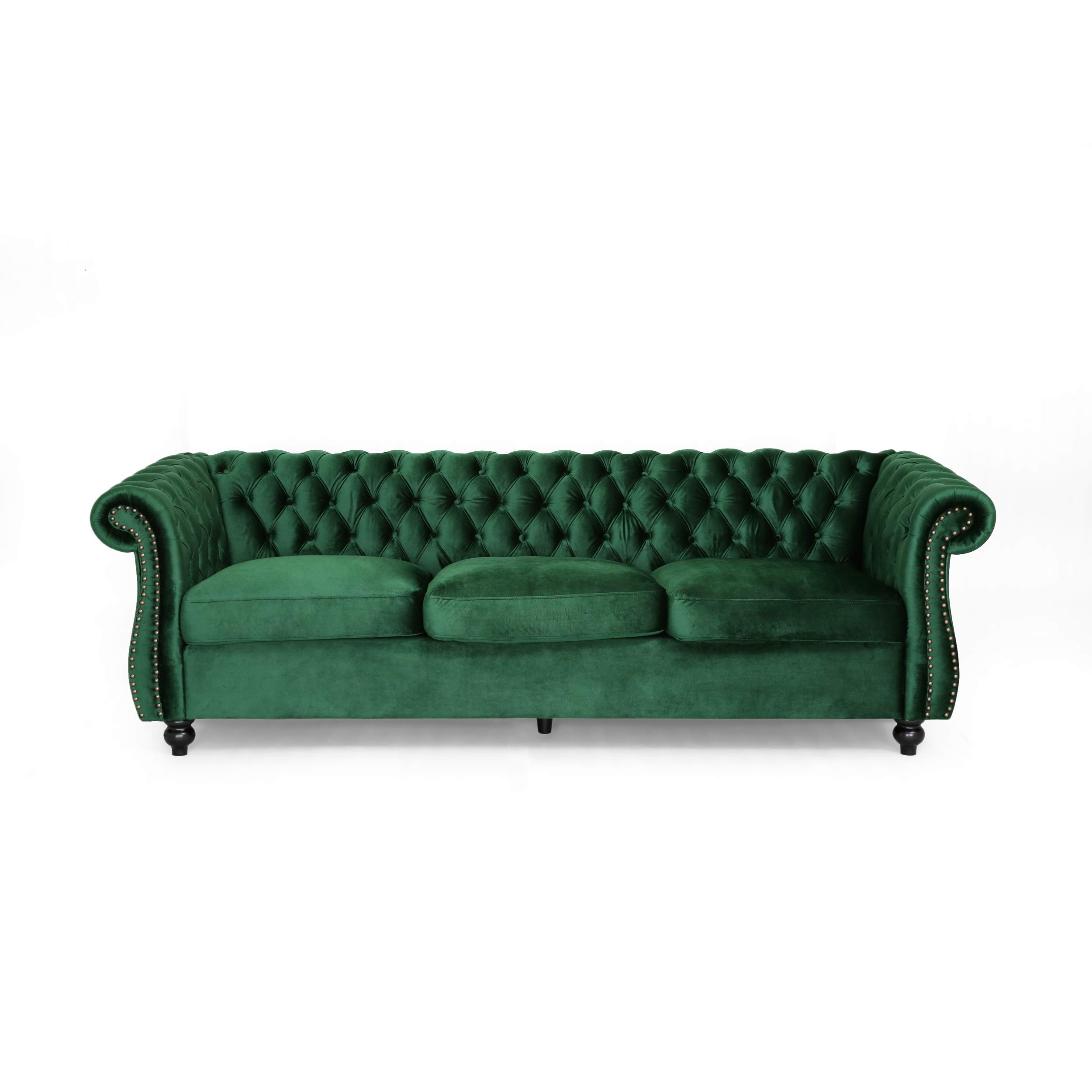 Vita Chesterfield Tufted Jewel Toned Velvet Sofa with Scroll Arms, Emerald by Great Deal Furniture