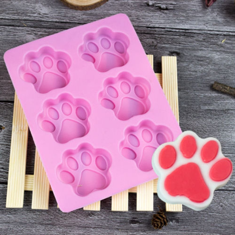Clearance Tuscom 17.5x13.8x1.8cm Cat Paw Print Silicone Cookie Cake Mold,Candy Chocolate Mold Soap Ice Cube Mold (Pink)