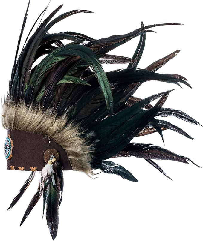 Red Brown Feathers Indian Inspired Boho Headdress Native American War Bonnet