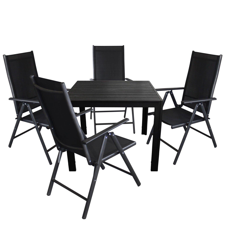 5tlg. Gartengarnitur - Aluminium Gartentisch 90x90cm, Polywood Tischplatte + 4x Hochlehner mit 2x2 Textilenbespannung, Lehne um 7 Positionen verstellbar, klappbar - Gartenmöbel Sitzgruppe Sitzgarnitur