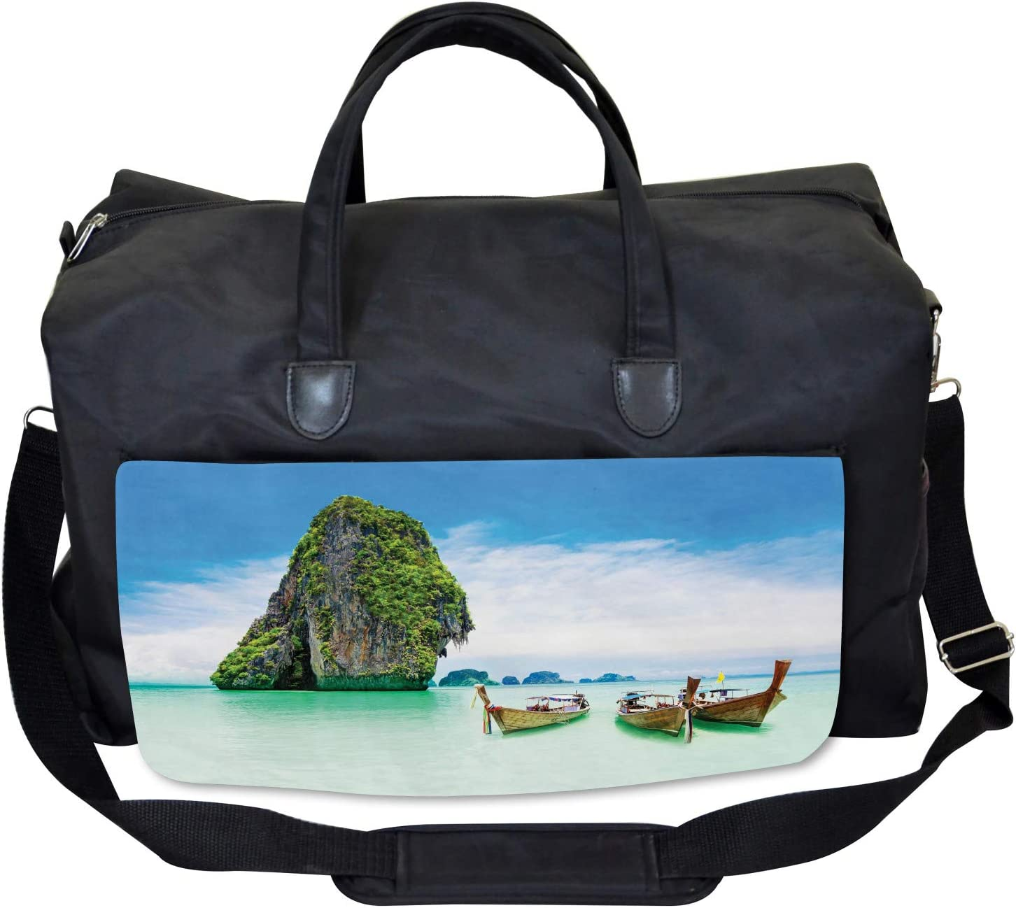 Ambesonne Island Gym Bag Rock in the Sea Coast Large Weekender Carry-on