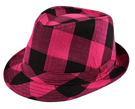 f1810387c26 Itzu Trilby Lumberjack Check Fedora Crushable Foldable Hat in Black Pink  Turquoise Purple Red: Amazon.co.uk: Clothing