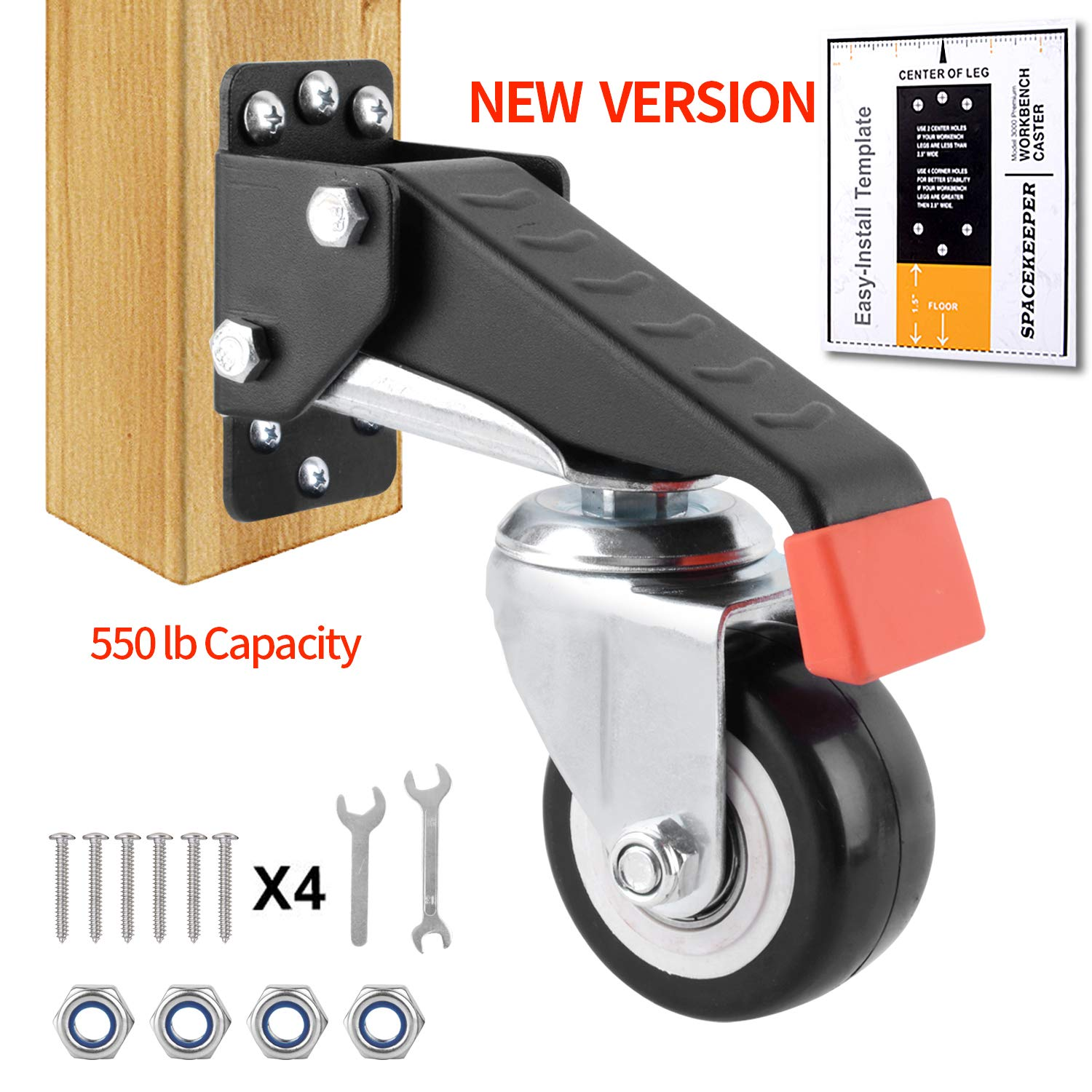 SPACEKEEPER Workbench Caster kit - 4 Heavy Duty Retractable Casters 550 lbs Weight Capacity Urethane Wheels Designed for Workbenches Machinery & Tables, Bonus Free Install Template [New Version]