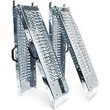 2x Auffahrrampe klappbar verzinkter Stahl Auffahrschiene Fahrrampe Laderampe 160x22.5cm 400kg