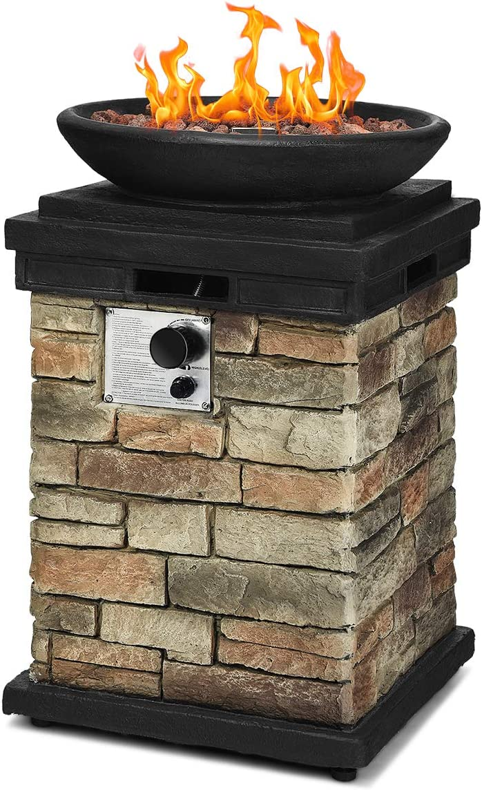 Giantex Propane Fire Pit Table, 40,000 BTU Outdoor Bowl Fire Table with Lava Rocks and Rain Cover Black