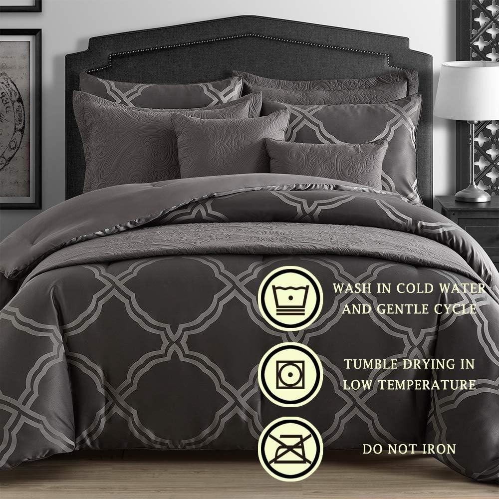 Red Comfy Bedding Frame Jacquard Microfiber Full 5-piece Comforter Set