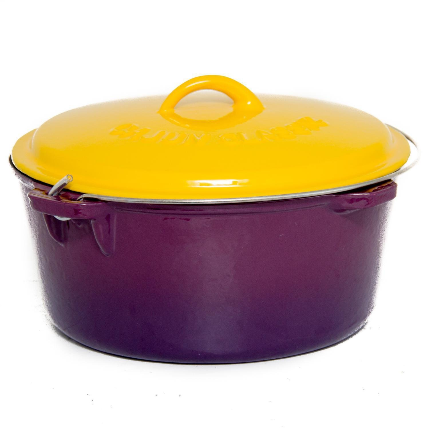 Cajun Classic 12-Quart Enamel Cast Iron Dutch Oven - Purple & Gold - GL10489PG