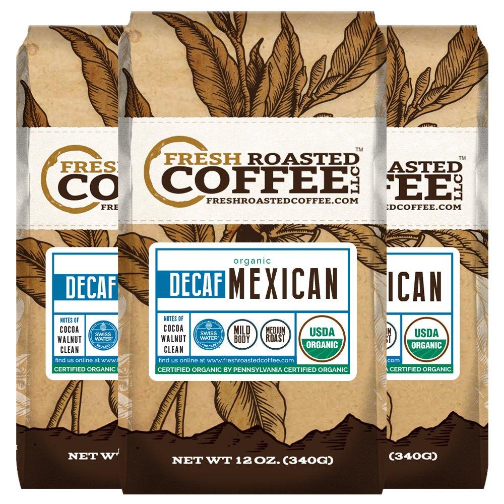 Fresh Roasted Coffee LLC, Organic Decaf Mexican Chiapas Coffee, Swiss Water Decaf, USDA Organic, Medium Roast, Whole Bean, 12 Ounce Bag, 3 Pack by FRESH ROASTED COFFEE LLC FRESHROASTEDCOFFEE.COM