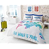 Ben de lisi home multicoloured printed world explorer bedding printed duvet cover set soft extremely durable best quality world map design world gumiabroncs Choice Image