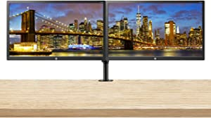 HP 24uh 24-inch Full HD 1920 x 1080 LED Backlit LCD Monitor 2-Pack Bundle with HDMI, VGA, DVI Ports, and Desk Mount Clamp Dual Monitor Stand