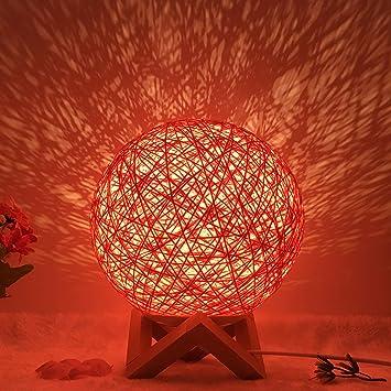 Wooden Rattan Table Lamp Dimming Desk Bedside Night Light Lamp Decor USB Gift