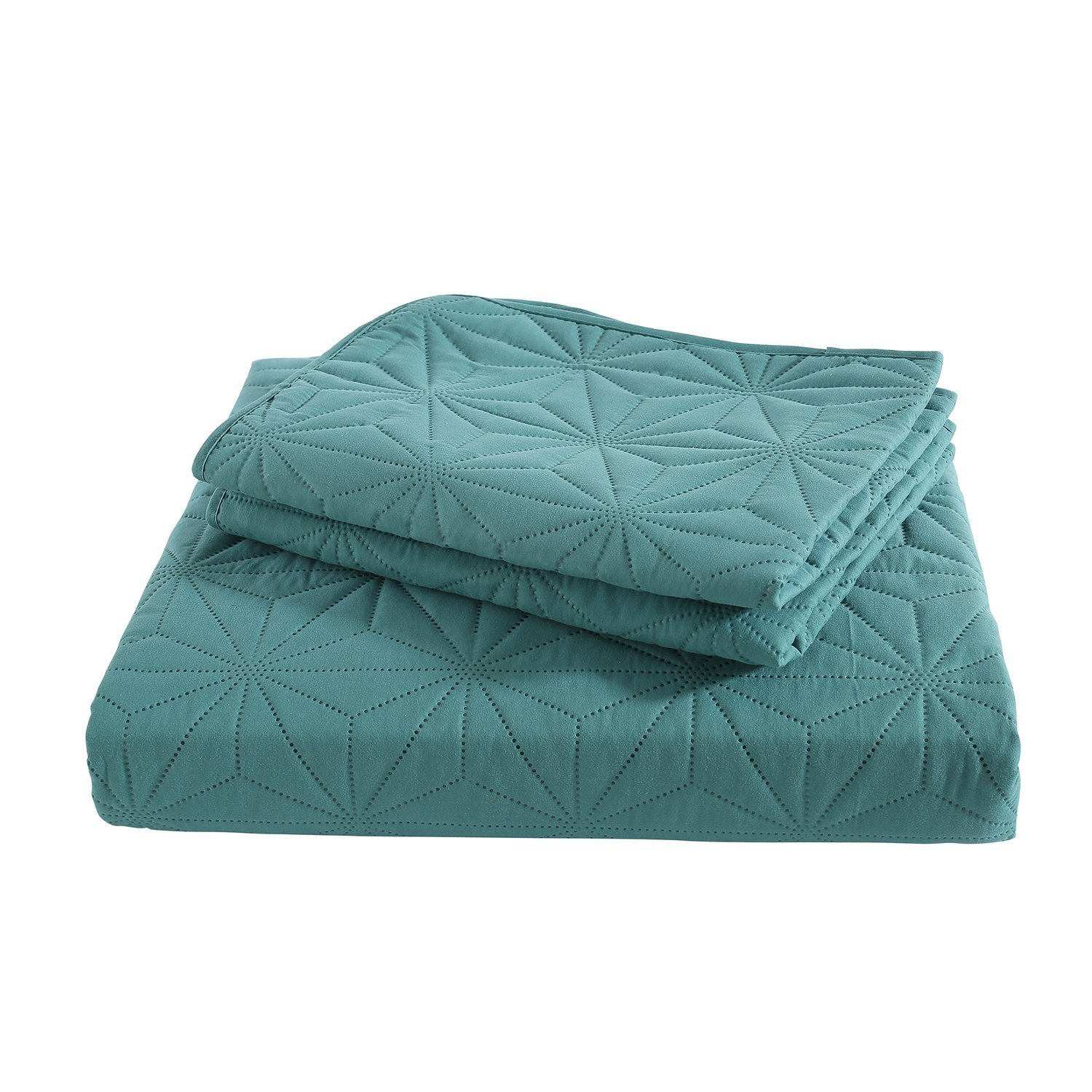3 Pieces King Size Quilt Solid Lightweight Hypoallergenic Microfiber HollyHOME Snowflake Quilt Set Collection Turquoise Blue