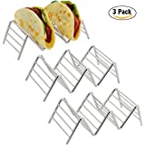 Taco Holder, Amazer Taco Stand Stainless Steel Rustproof Taco Rack Hold 2 or 3 Hard or Soft Taco Shells Taco Truck Tray Style Oven Safe for Baking 3-pack