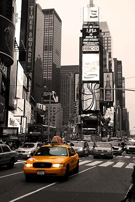 4bd797427fb60 Amazon.com: Time Square New York City Taxi on The Move Photo Art ...