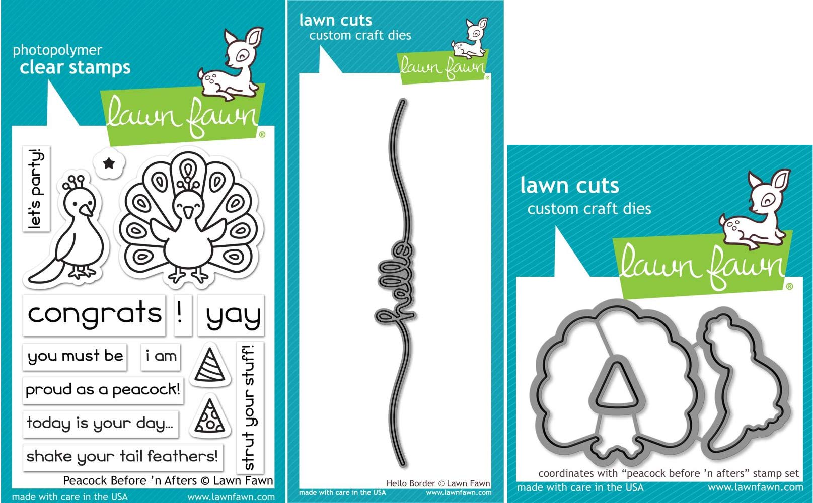 Lawn Fawn - Hello Peacock Bundle - Peacock Before 'n After Clear Stamp and Die Sets with Hello Border Die - 3 Items