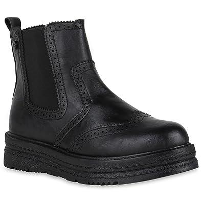 0dada65ec56a Damen Plateau Boots Chelsea Stiefeletten Leder-Optik Schuhe Profil 150960  Schwarz 36 Flandell  Amazon.de  Schuhe   Handtaschen