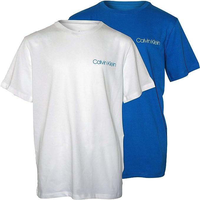 Calvin Klein Boys 2-Pack Clásico Logotipo Camiseta De Cuello Redondo, Azul/Blanco: Amazon.es: Ropa y accesorios