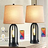 Set of 2 Table Lamps 3-Way Dimmable Touch Lamp Bedside Lamp with USB Ports Industrial Bedroom Lamps for Living Room Black Nig