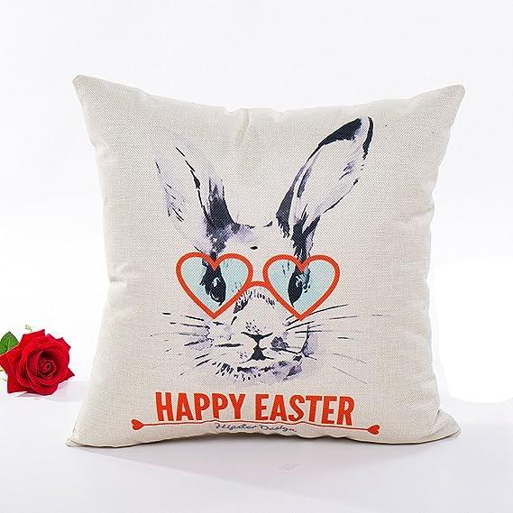 LANSKIRT_ Fundas de Cojin 45x45 CM Moda Conejito de Pascua patrón Impreso Funda de Almohada Funda de Cojín Vintage Estampada con Estilo - 4 Colores: ...