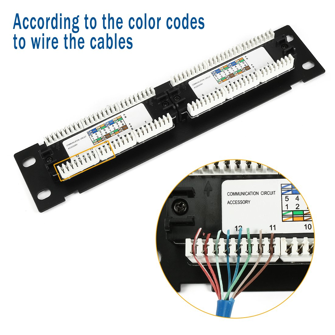 Uxcell 12 Port Cat6 Rj45 Ethernet Patch Panel Utp Wiring Diagram Unsheilded 10 Inch With Wallmount Bracket Black Computers Accessories