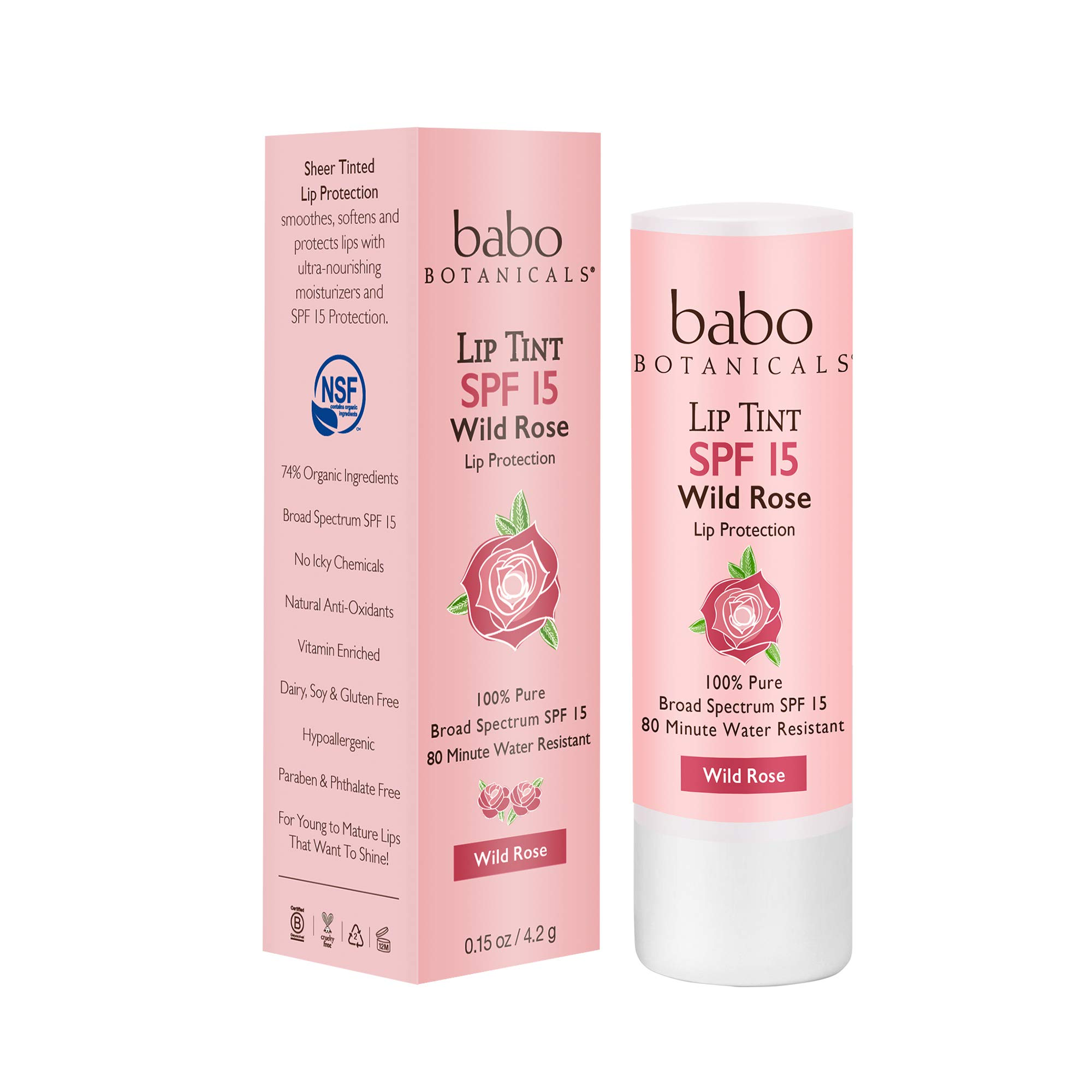 Babo Botanicals 70+% Organic Tinted Mineral Lip Conditioner SPF 15, Water-Resistant Lip Balm, Wild Rose - 0.15 oz.