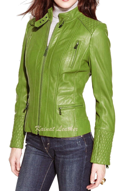 Womens Leather Jacket Stylish Motorcycle Biker Genuine Lambskin 36