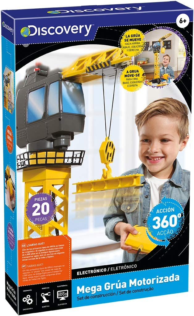 Discovery- Mega-grúa motorizada niños, Torre Juguete, maquinas de construccion, camion RC, grua teledirigida (worldbrands 6000379)