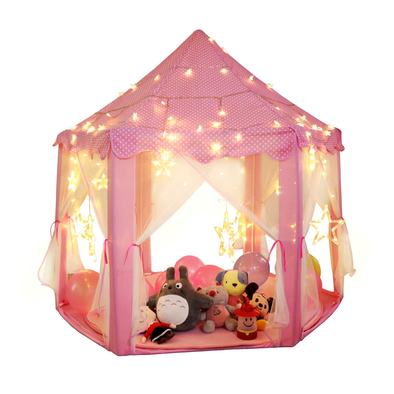 SANLINKEE Kids Pink Princess Castle with LED Star Lights, Princess Castle Play Tent Indoor and Outdoor Playhouse Hexagon Fairy Princess Castle Play Tent for Boys and Girls (Pink)