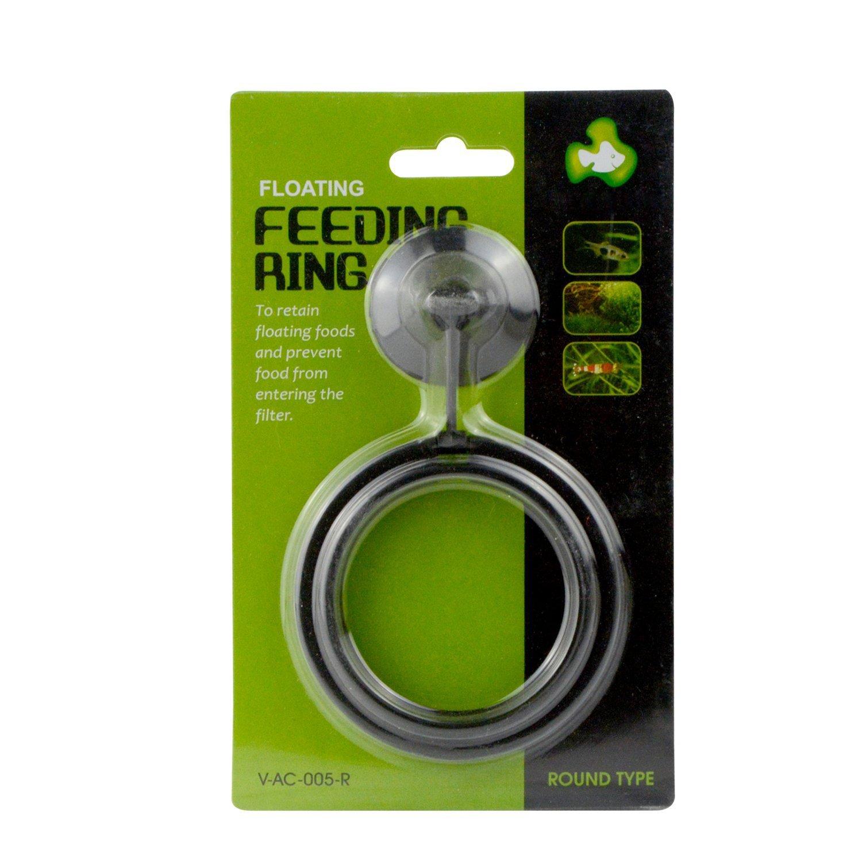 Saim Aquarium feeder Feeding Ring with Suction Cup, Black (Square)