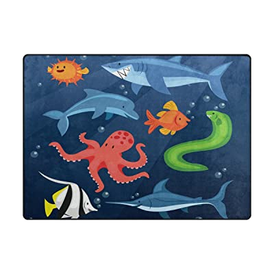 Vantaso Soft Foam Nursery Rugs Ocean Animals Shark Dolphin Octopus Non Slip Play Mats for Kids Boys Girls Playing Room Living Room 63x48 inch: Toys & Games