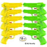 "Set of 12 Neon Plastic Squirt Super Soaker Water Gun Assortment 6.5"" Water Pistol for Pool Parties, Barbecue Activities for Kids, Adults, and Pets, By 4E's Novelty,"