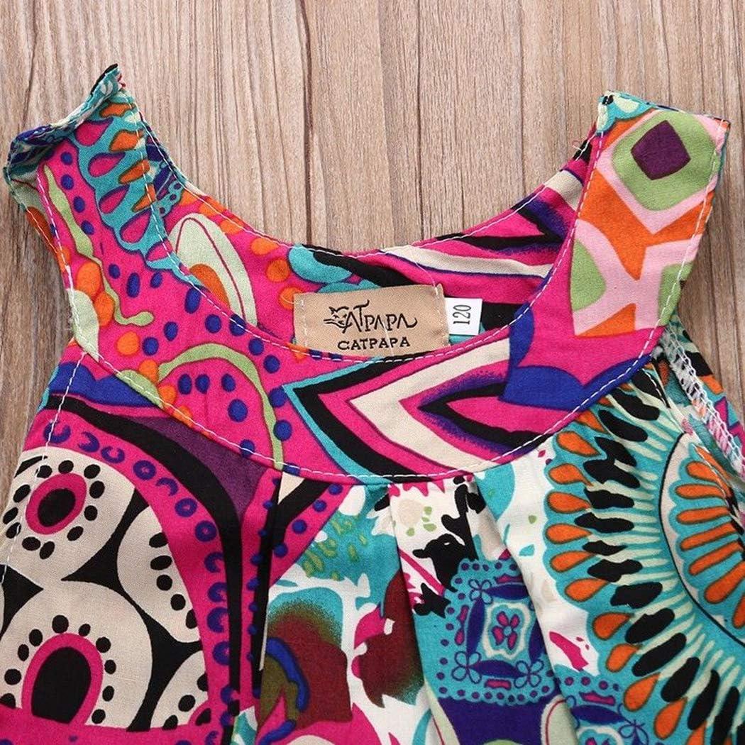 CQHY MALL Kids Toddler Girls Boho Dresses Baby Cute Ethnic Skirt Sleeveless O-Neck Dashiki Print Dress Summer Sundress