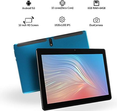 10.1 Pulgadas Android 9.0 Nougat Tablet PC Deca Core Pad con 6GB RAM 64GB ROM Ranuras para Tarjetas Dual Sim 4G Llamada telefónica desbloqueada ...