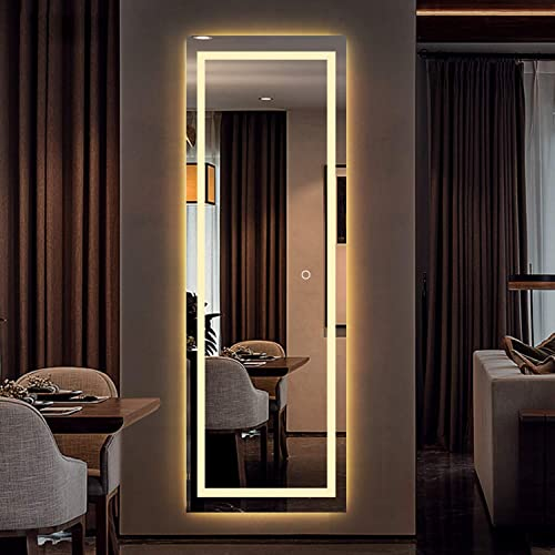 MIRUO LED Full Length Mirror Wall Mounted Lighted Floor Mirror Dressing Make Up Mirror Bathroom/Bedroom/Living Room/Dining Room/Entry Dimmer Touch Switch 65″ x 22″
