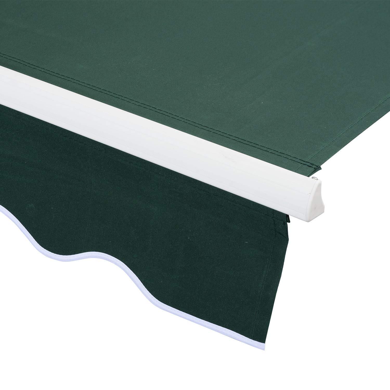 miozzi Tenda da Sole Avvolgibile Manuale A Parete Tessuto di Poliestere Verde 2.5x2m