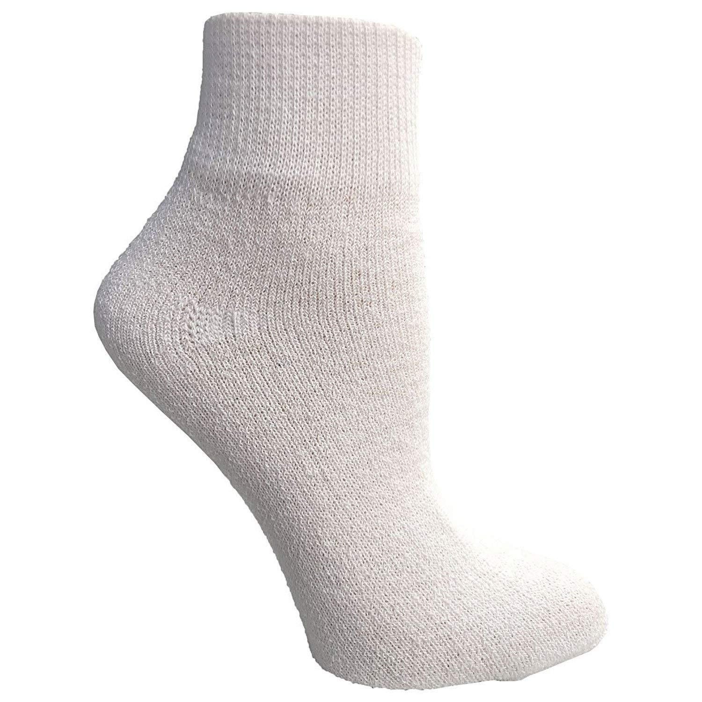 Physicians Approved Mens King Size Diabetics Quarter Ankle Socks Cotton - 13-16 - White - 120 Pack