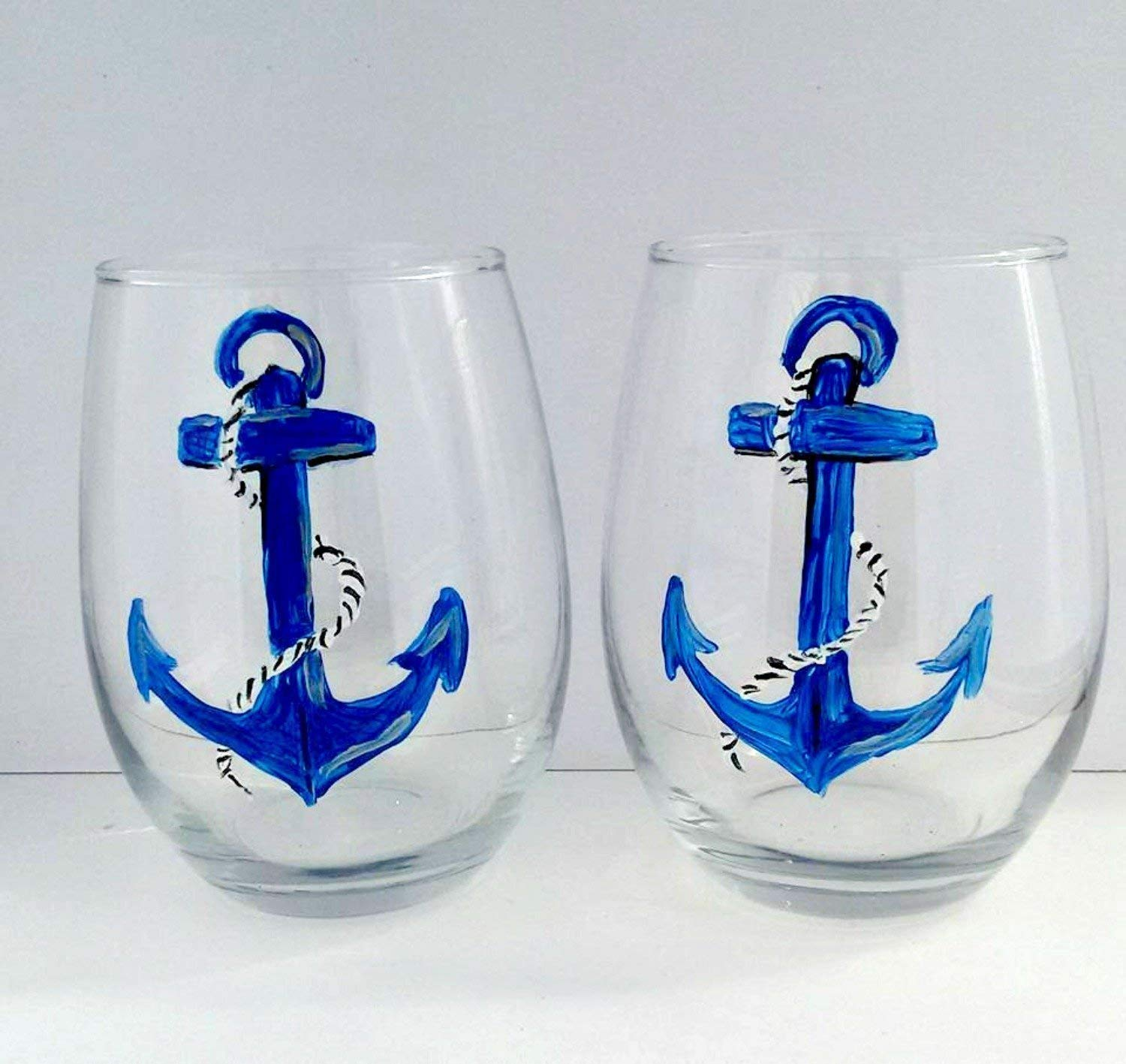 Boat Anchor Navy Blue Hand Painted (Set of 2) Stemless 20 oz. Wine Glasses, Nautical Kitchen Décor by Atkinson Creations
