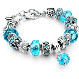 Capital Charms Silver Charm Bracelet Set with Crystal Beads, Gifts for Women and Girls, Universal Fit with 19 cm + 4 cm…