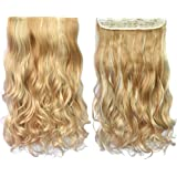 """REECHO 20"""" 1-Pack 3/4 Full Head Curly Wave Blonde Mixed Hair Color Clips in on Synthetic Hair Extensions Hairpieces for…"""