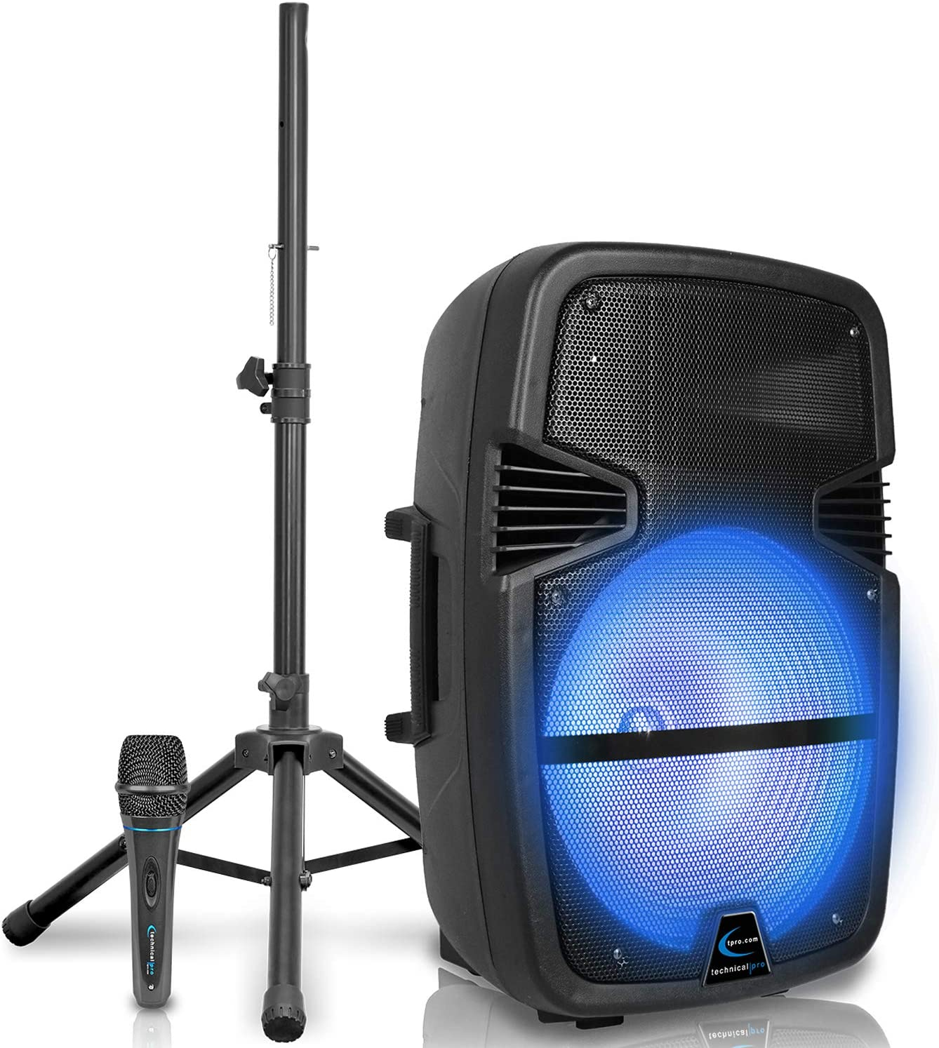 Technical Pro 3000 Watts Rechargeable 15 Inch Bluetooth LED Speaker Package with Tripod & Microphone, LED Woofer, SD/USB Inputs, TWS Stereo Sound, Wired Mic