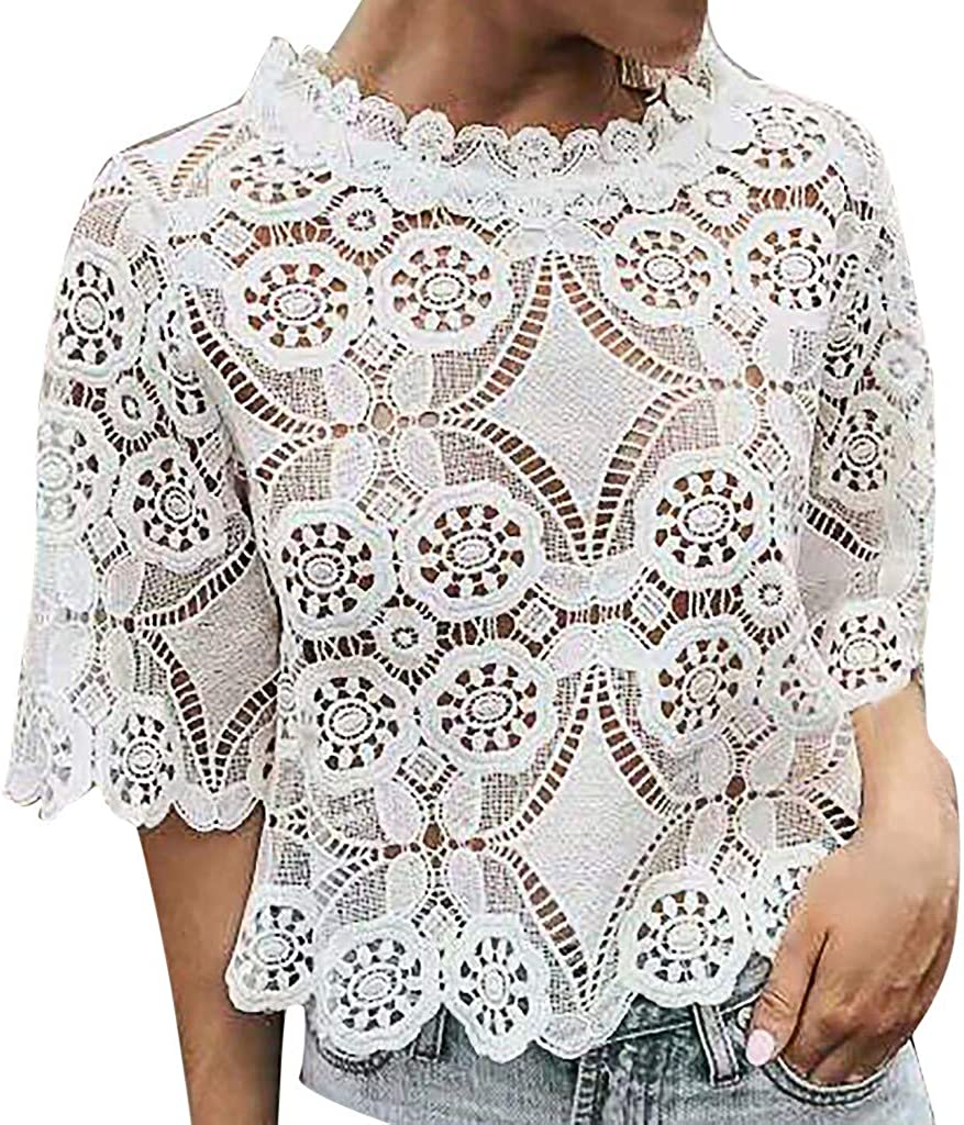 Sanyyanlsy Womens Fashion Lace Ethnic Hollow-Cut Tank Tops Flare Short Sleeve Vest Turtleneck Blouse Shirt T-Shirt