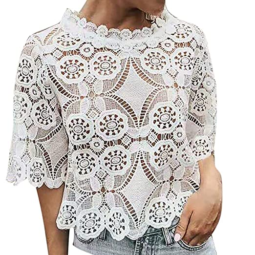 00846fbb Behkiuoda Women Lace Crochet O-Neck Party Wedding Elegant Pullover Summer  Half Sleeve T-
