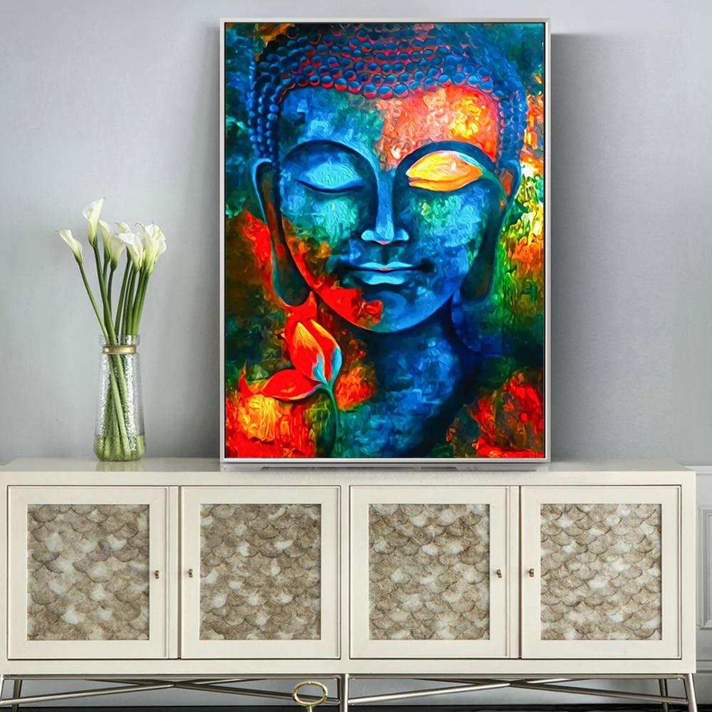 Abstracto moderno lienzo pintura Buda pared y Buda cabeza cartel e impresiones decoraci/ón de la sala pintura-60 80/_no marco