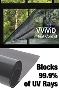 "Heat Control 99% Anti UV Residential Vinyl Wrap 60"" x 78"" Large Window Light Tint Roll Home Office Climate Control"